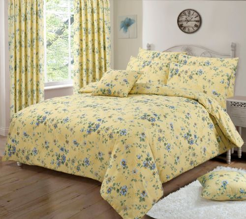 LEMON YELLOW PRETTY FLORAL DESIGN REVERSIBLE BEDDING DUVET QUILT COVER SET